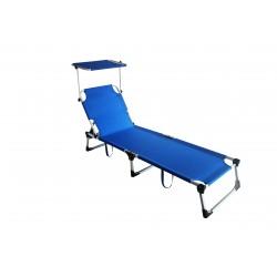 lettino pieghevole mykonos in alluminio e textilene 2x1 colore blu