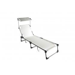 lettino pieghevole mykonos in alluminio e textilene 2x1 colore bianco