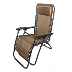 sdraio siesta multiposizione in acciaio nero e textilene 2x1 colore marrone