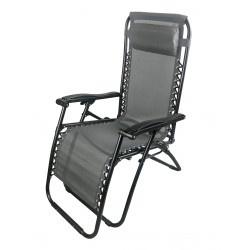 sdraio siesta multiposizione in acciaio nero e textilene 2x1 colore grigio