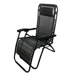 sdraio siesta multiposizione in acciaio nero e textilene 2x1 colore nero