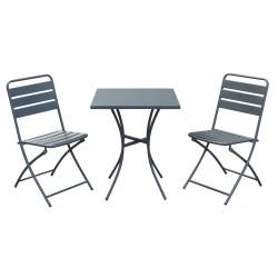 salotto bistrot pieghevole (1 tavolo 2 sedie) acciaio - colore antracite