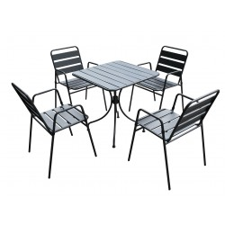 salotto krystin (1 tavolo 4 sedie) acciaio - colore antracite