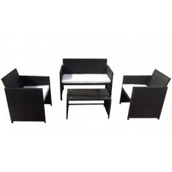 salotto valencia black (2 poltrone 1 divano 1 tavolo) polyrattan - colore nero cuscini colore bianco