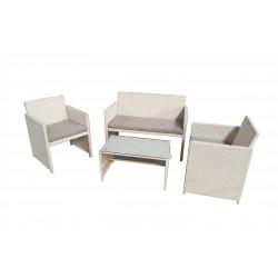 salotto valencia white (2 poltrone 1 divano 1 tavolo) polyrattan - colore bianco cuscini colore grigio chiaro
