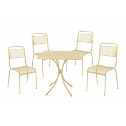 salotto ocean cream (1 tavolo 4 sedie)acciaio - colore crema