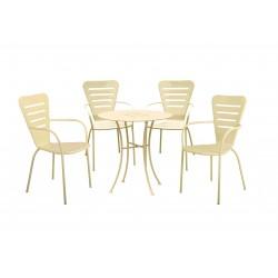salotto ginevra (1 tavolo 4 sedie) acciaio - colore crema