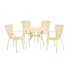 salotto ginevra big (1 tavolo 4 sedie) acciaio - colore crema