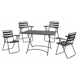salotto mery pieghevole (1 tavolo 4 sedie) acciaio - colore antracite