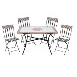 salotto mosaico lipari ( 1 tavolo 4 sedie pieghevoli)