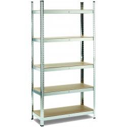 scaffale 5 ripiani in metallo e mdf misure: h 180 x l 90 x p 40 cm portata: 175 kg per ripiano, montaggio ad incastro