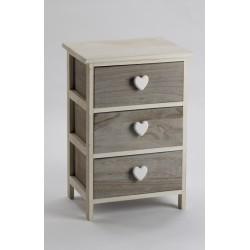 cassettiera bianca/grigia con pomoli a cuore, prodotto in legno di paulownia