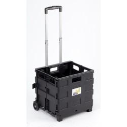 carrello trasporto con cassa in plastica pieghevole portata max 25 kg