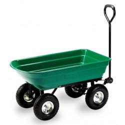 carrello da giardino in acciaio verniciato con vasca in abs ribaltabile, capacità 75 lt, articolo da assemblare