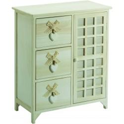 cassettiera 3 cassetti con cuore + anta colore white washed in legno di paulownia