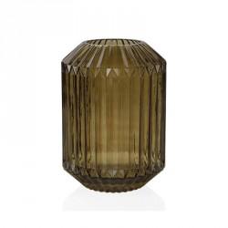 Vaso a fioriera grande in vetro rigato - opacizzato tinta terra trasparente