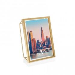 Prtafoto con cornice geometrica 3d 10x15 in metallo con finitura oro