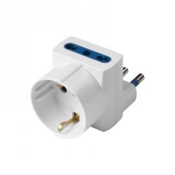 Accessori elettrici: Adattatore imq salvaspazio 3 prese (2 biv.+schuko) - spina 16a - blister