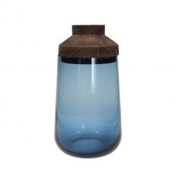 Vaso di vetro colorato blue con coperchio da 33 cm - serie caddy