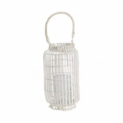 Lanterne e portacandele: Lanterna in bamboo white 20x54h