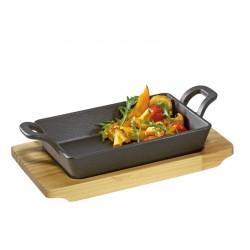Bistecchiere e piastre: Padella grill in ghisa con supporto in legno rettangolare