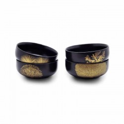 Ciotole, coppette ed insalatiere: Singapore set 4 bowl in ceramica nera con decoor oro
