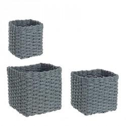 Cesto contenitore in carta - quadrata in grigio - taglia l