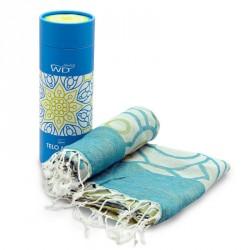 Tessile bagno: Miami telomare 100% cotone mandala verde e blu