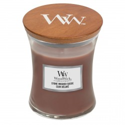 Candela con cera profumata: stone washed suede - serie jar - medio formato
