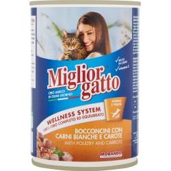 Migliorgatto bocconcini con carni bianche e carote - gr.405