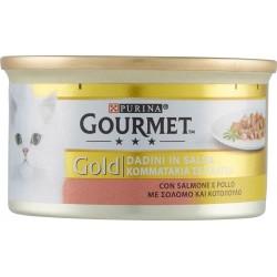 Gourmet gold con salmone e pollo a dadini - gr.85
