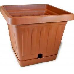 Bama vaso terra quadrato cm.40x40 con sottovaso