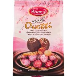 Witor's Maxi ovetti Assortiti di cioccolato fondente e al latte ripieni di crema alla nocciola 500 gr.