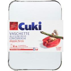 Cuki Conserva e Cuoce Vaschette Alluminio con coperchi 4 porzioni - pezzi 3 (R75)