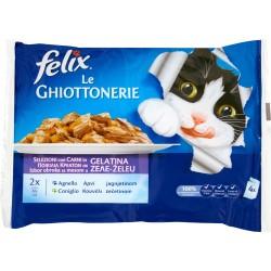 PURINA FELIX Le GHIOTTONERIE Gatto Con Agnello e Coniglio in Gelatina Busta 4x100 gr.