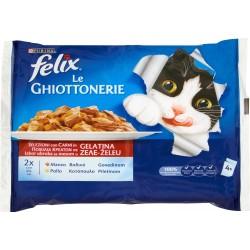 PURINA FELIX Le GHIOTTONERIE Con Manzo e Con Pollo in Gelatina Busta 4x100 gr.