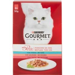 PURINA GOURMET Mon Petit Gatto Irresistibili Ricette con Pesce (Tonno, Salmone, Trota) Busta 6x50 gr.