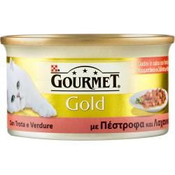 PURINA GOURMET Gold Gatto Dadini con Trota e verdure, in salsa con verdure lattina 85 gr.