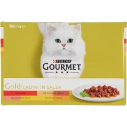PURINA GOURMET Gold Gatto Dadini in Salsa con Manzo, Salmone, Anatra, Pollo Lattina 12x85 gr.