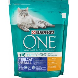 PURINA ONE BIFENSIS Gatto Crocchette STERILCAT HAIRBALL Ricco in Pollo e Cereali Integrali Sacco 800 gr.
