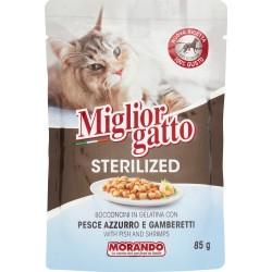 Migliorgatto bocconcini sterilized pesce azzurro gamberetti gr.85