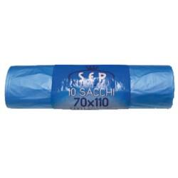 Bz sacco immondizia raccolta differenziata azzurro trasparente cm70x110