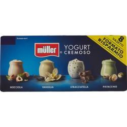 müller Yogurt Cremoso Nocciola, Vaniglia, Stracciatella, Pistacchio 8 x 125 gr.