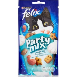 PURINA FELIX Party Mix Snack Gatto Ocean mix al gusto di salmone, merluzzo e trota busta 60 gr.
