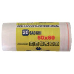 Sacco immondizia trasparenti cm.50x60 riciclabili lt.25 x20
