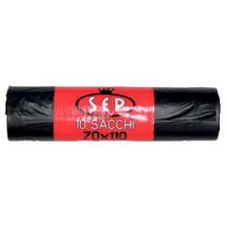 Sep sacchi immondizia neri cm.70x110 rotoli x10