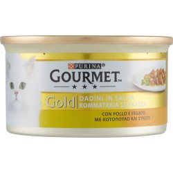 PURINA GOURMET Gold Gatto Dadini in salsa con Pollo e Fegato lattina 85 gr.