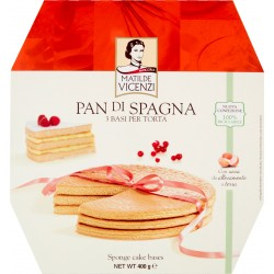 Pasticceria Matilde Vicenzi Pan di Spagna 3 Basi per Torta rotonda 400 gr.