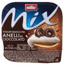 Müller Mix Yogurt bianco più anelli al cioccolato 150 gr.