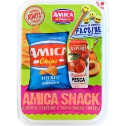 Amica Chips Amica Snack Originale 20 g + Il Giardino dei Sapori Frullato di Pesca 125 ml